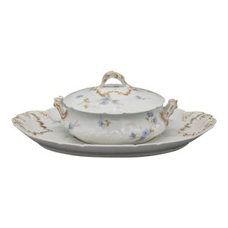 Antique French Haviland Limoges Blue Floral Serving Bowl & Platter For Sale