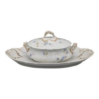Antique Haviland Limoges Blue Floral Serving Bowl & Platter