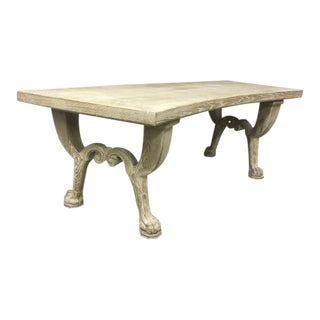 Jean Charles Moreux 1940s Neoclassic Oak Sand Blasted Coursed Oak Desk For Sale