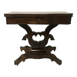 Antique Empire Carved Flaming Mahogany Flip Top Library Office Game Table For Sale