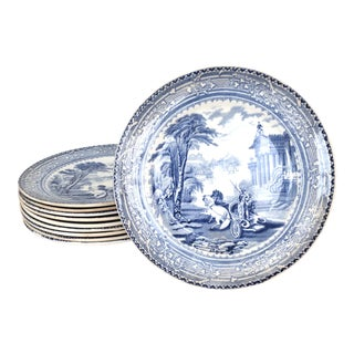 Staffordsire Arcadian Dessert Plates - Set of 10 For Sale