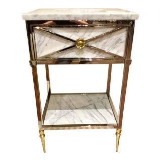 Ambella Home Modern Chrome, Brass, and Carrara Marble Napoleon Mini Sink/Vanity For Sale
