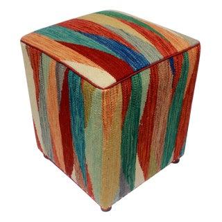 Arshs Dodie Rust/Blue Kilim Upholstered Handmade Ottoman For Sale