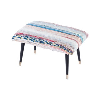 Pasargad Home Bosphorus Collection Light Blue & Pink Kilim Cover Ottoman For Sale