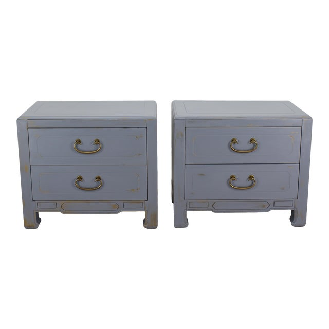 Pair of Mid-Century Gray Nightstands, Hand Painted Nightstands, Pair of Gray Nightstands, 1970's Nightstands For Sale