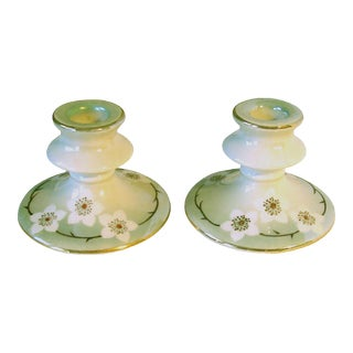 1920s Lustreware Candlesticks, Pair For Sale