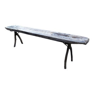 Long Gray Brown Reclaimed Wood Bench For Sale