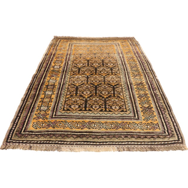 Islamic Vintage Shiraz Persian Tribal Rug With Mid-Century Modern Style - 3'6 X 5'4 For Sale - Image 3 of 8