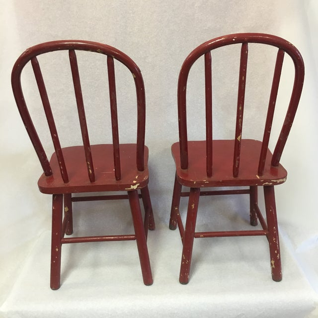 Red Antique Children's Red Chairs- a Pair For Sale - Image 8 of 13 - Antique Children's Red Chairs- A Pair Chairish