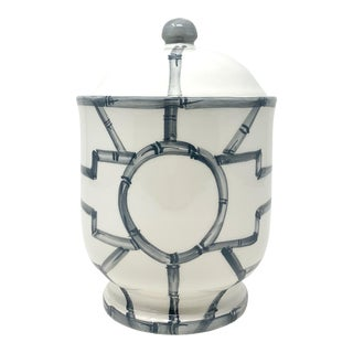 Italian Hand Painted Bamboo Fretwork Ginger Jar With Lid in Graphite For Sale