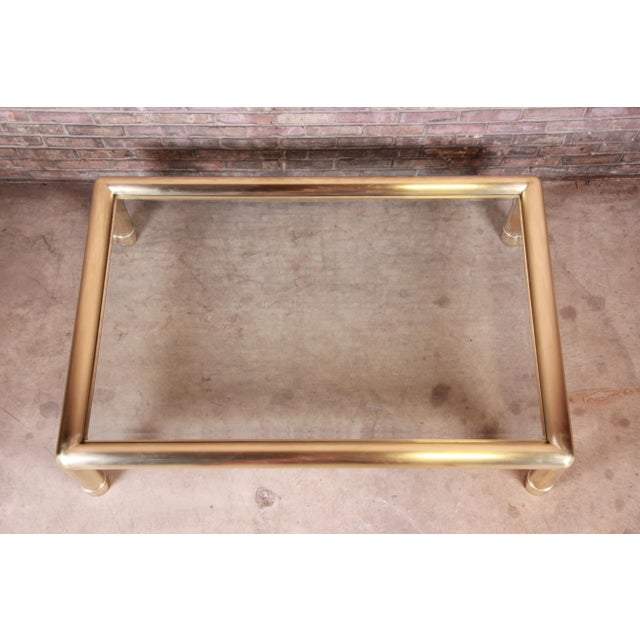 Mastercraft Monumental Hollywood Regency Chinoiserie Brass and Glass Cocktail Table For Sale In South Bend - Image 6 of 10
