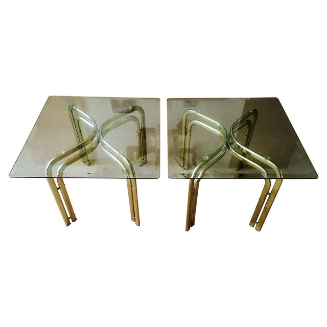 Mid Century Brass & Glass Side Tables - a Pair - Image 1 of 9