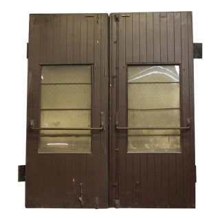 Wooden Barn Style Doors With Single Glass Panel - a Pair