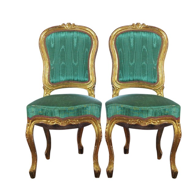 Louis XVI Style Giltwood Chairs - Set of 4 - Image 1 of 11