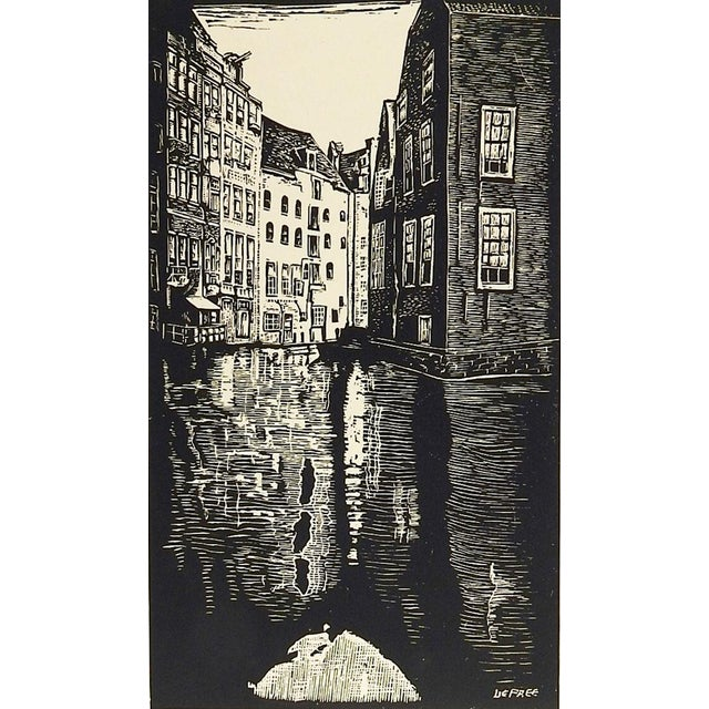 Old Amsterdam Woodcut Print by John DePree For Sale - Image 4 of 4