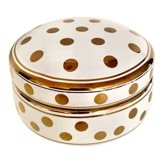 Vintage Gilt Ceramic Covered Box With Dots For Sale