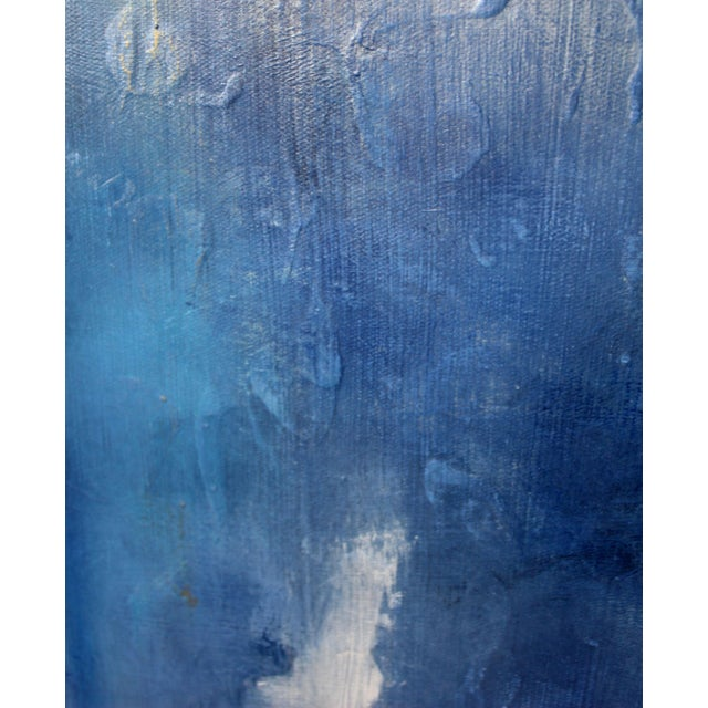 """Cool to the Core"" Modern Abstract Blue Art Textured Canvas Wall Hanging Painting - Image 2 of 3"
