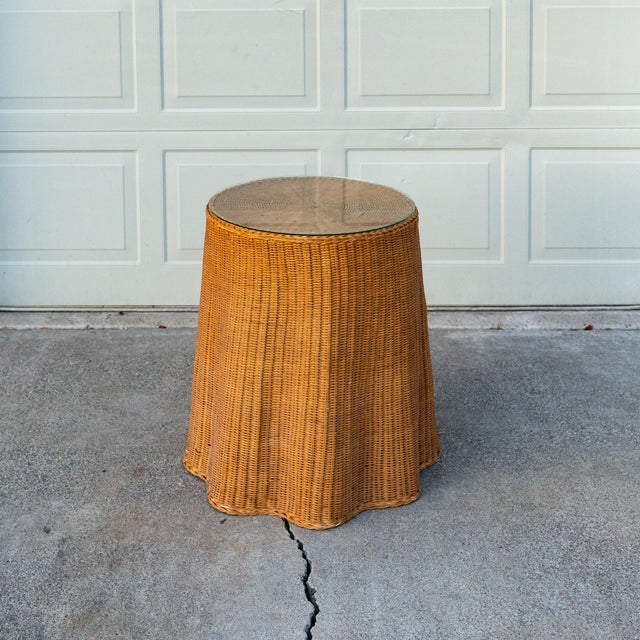 1970s Boho Chic Trompe l'Oeil Rattan Draped Wicker Ghost Entryway Table For Sale - Image 9 of 9
