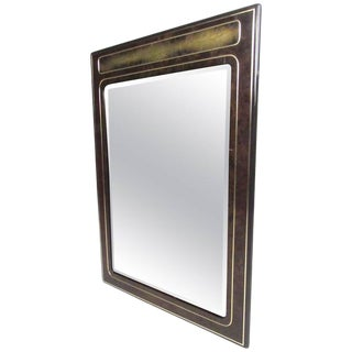 Vintage Mastercraft Burl and Brass Wall Mirror by Bernhard Rohne For Sale