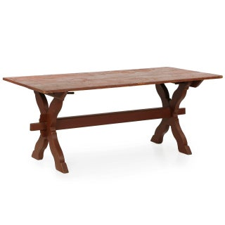 American Scrubbed Pine Trestle Farm Table For Sale