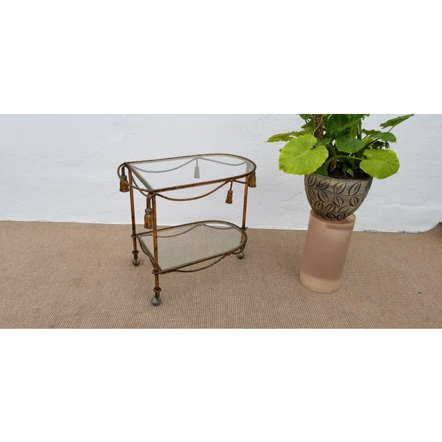 1960s Hollywood Regency Gilt Metal Bar Cart For Sale In Miami - Image 6 of 11