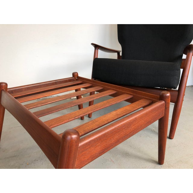1960s Danish Modern Reclining Lounge Chair and Ottoman - 2 Pieces For Sale - Image 10 of 13