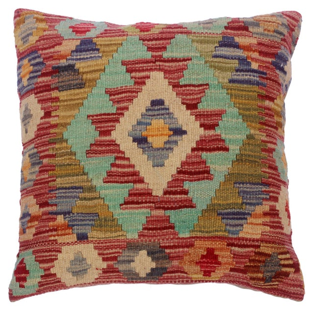 """Cheryll Rust/Ivory Hand-Woven Kilim Throw Pillow(18""""x18"""") For Sale In New York - Image 6 of 6"""