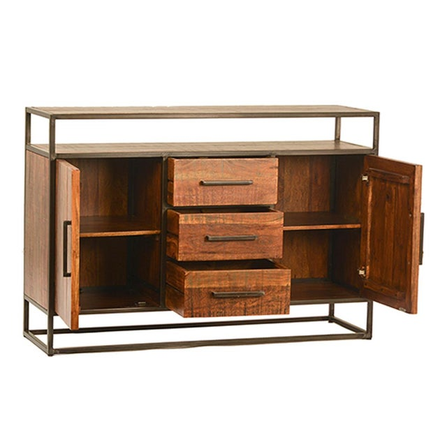 Modern stained acacia wood sideboard with iron tube frame. Includes three drawers and two cabinet doors that open to one...