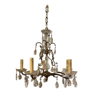 Vintage French Crystal and Bronze Chandelier From Marche Aux Puces For Sale