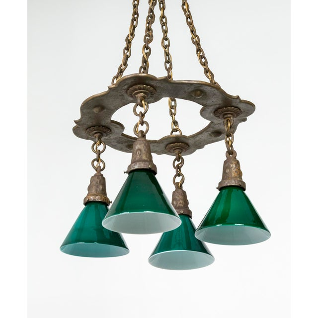 Arts & Crafts Hammered Darkened Metal Chandelier With Green Glass Shades For Sale In San Francisco - Image 6 of 12