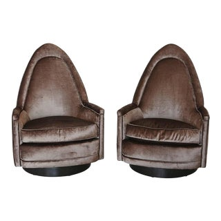 Pair of Petite Sculptural Memory Swivel Chairs in Grey Velvet by Milo Baughman For Sale