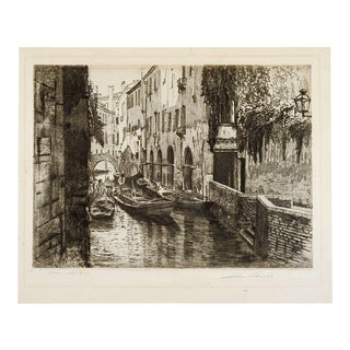 Rio S'Aponal Venice Italy Etching For Sale