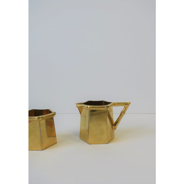 1960s 1970s Brass Bamboo Creamer & Sugar Set in the Hollywood Regency Style - a Pair For Sale - Image 5 of 9