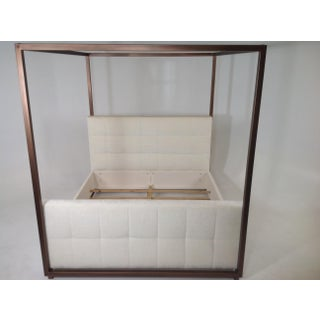 Modern Canopy Bed With Copper Finish and Chenille Fabric Preview