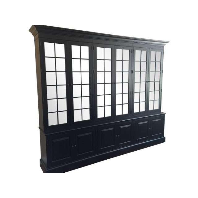 Black Ethan Allen Villa Triple Bookcase - Image 1 of 8