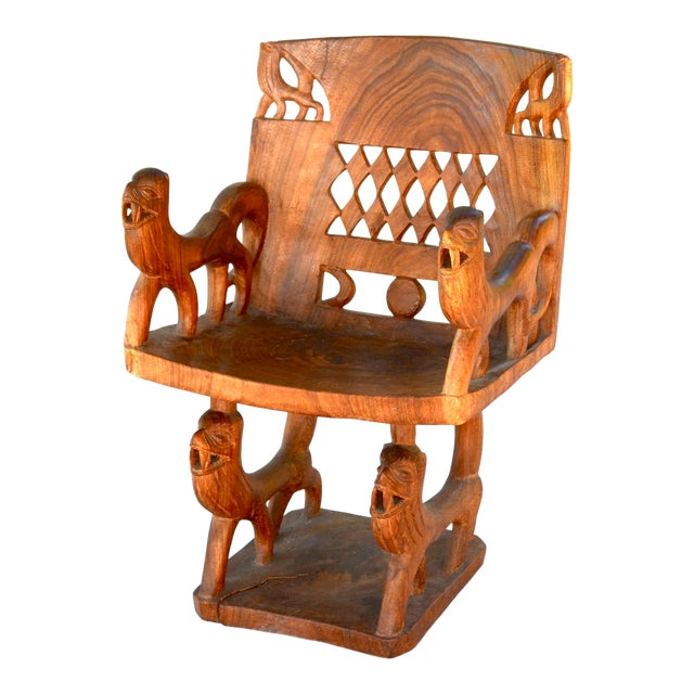 African Benin Tribal Wood Chair For Sale