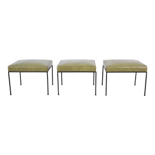 Paul McCobb Upholstered Iron Stools or Ottomans - Set of 3 For Sale