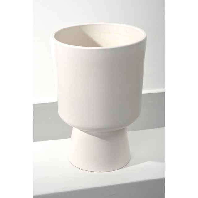 Malcolm Leland chalice planter, Model L-20 USA, 1960s Matte white glaze ceramic Signed Measures: 20 H x 14 D in.