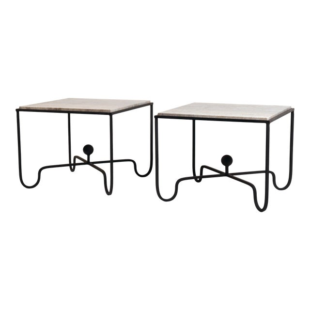 Large 'Entretoise' Silver Travertine Side Tables by Design Frères - a Pair For Sale