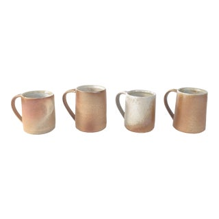Organic Modern Minimalist Thrown Pottery Mugs - Set of 4 For Sale
