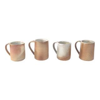 S/4 Earth Tone Minimalist Thrown Studio Pottery Mugs For Sale