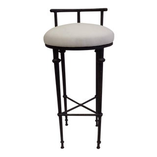 Three French Mid-Century Modern Neoclassical Solid Bronze Bar Stools, Giacometti For Sale