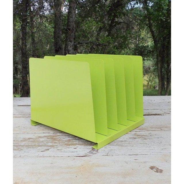 Vintage Lime Green Desk Office Organizer Metal File Album Rack For Sale - Image 4 of 7