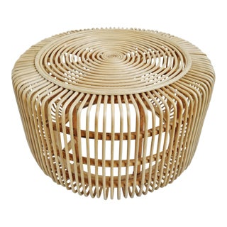 Raw Rattan Island Round Table For Sale