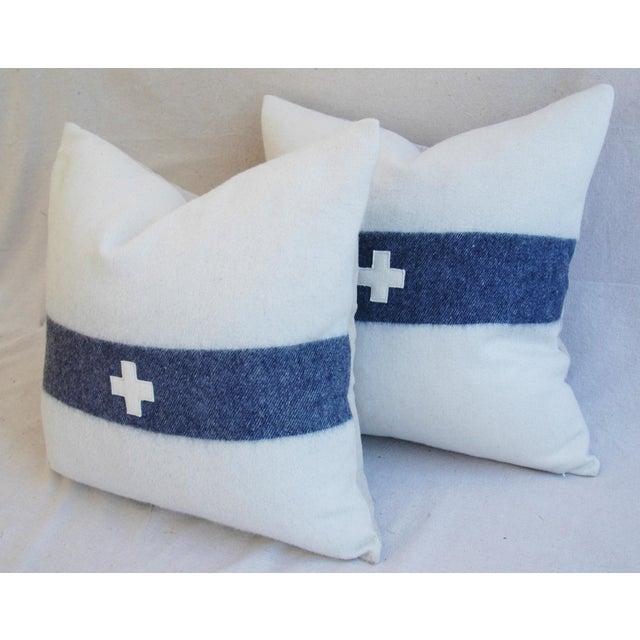 Nautical White & Blue Stripe Wool & Linen Pillows - a Pair - Image 7 of 10