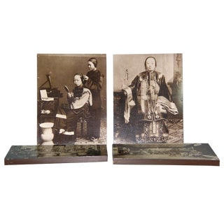 1970's Vintage Old Chinese Photo Prints on Wooden Board- Set of 4 For Sale