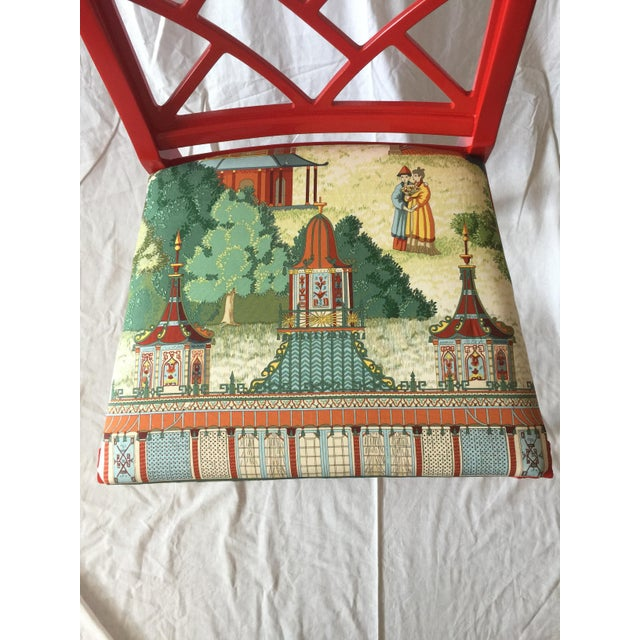 Chinoiserie Chippendale Fret Work Occasional Chair For Sale - Image 4 of 7