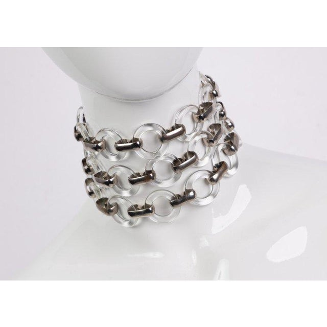 184a451cd5e Modern Vintage Yves Saint Laurent Lucite Rings Silver Link Belt Necklace  For Sale - Image 3