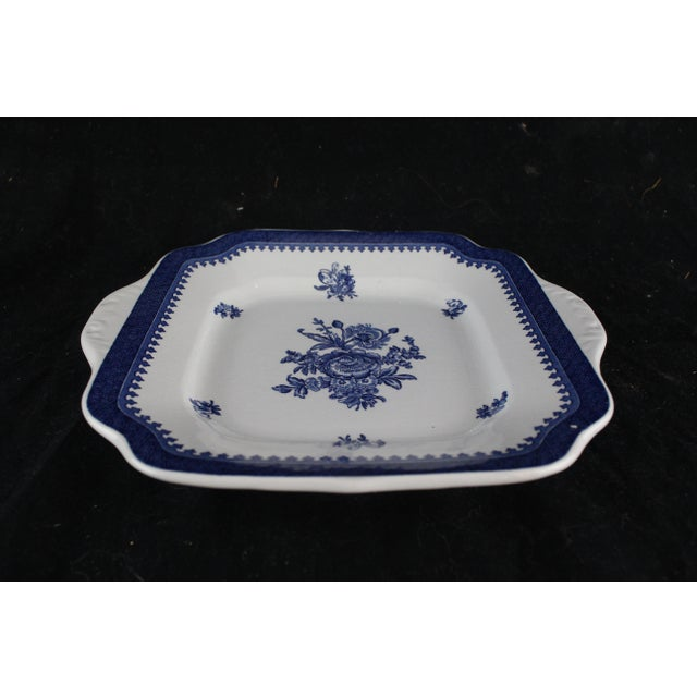 Square blue and antique white Wedgwood platter. Marked Georgetown Collection by Wedgwood Springfield. Made in England.