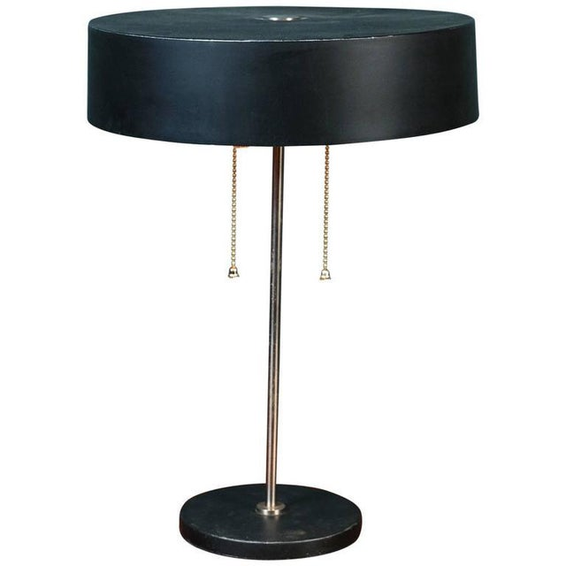 Exceptional Black Mid Century Modern Table Lamp With Round Metal